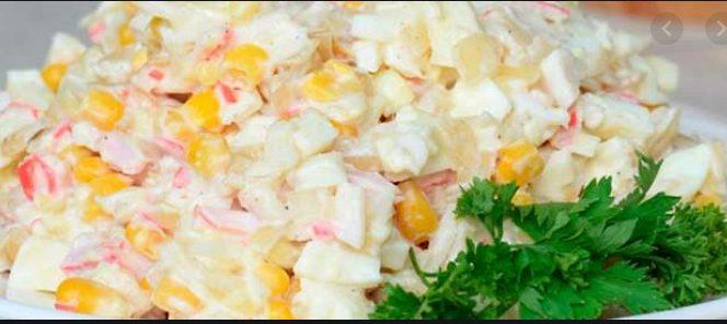 Рисовый салат с говяжьей ветчиной